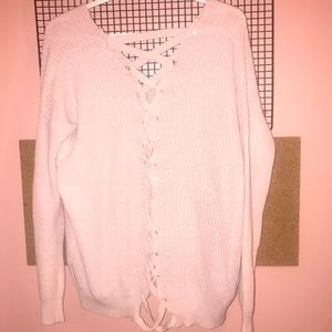 Sweaters - Woman's Pink Knit Sweater